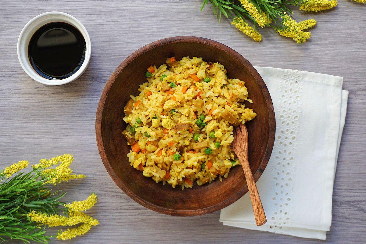 Arroz tres delicias vegano