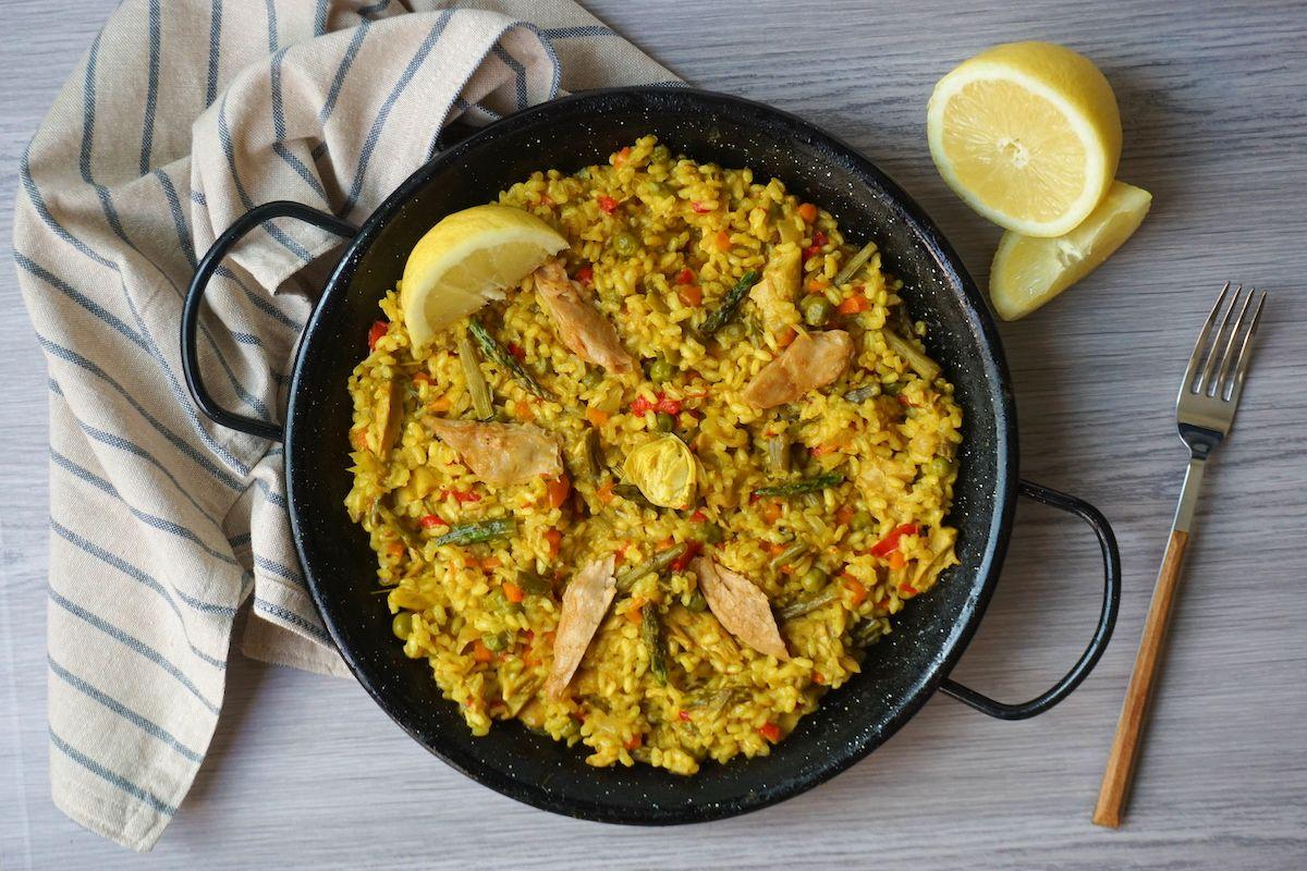 Paella vegana con Heura