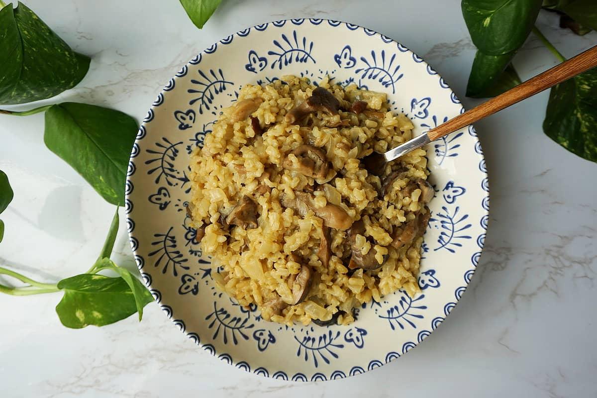 risotto vegano de setas